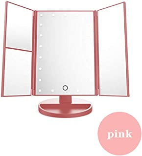 Makeup Mirror Makeup Mirror Tri-fold Multifunction Portable Desktop Magnifier Smart Led Fill Light Microscopy, 3 Colors (Color : Pink, Size : 16.5x24cm)