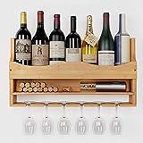 HOMECHO Set de 2 Botelleros de Montaje en Pared para 7 Botellas con Soporte para 6 Copas Estantes para Botellas de Vino de Bambú 55x10x30 cm
