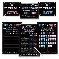 ベビー性別発表パーティー用品キット 写真小道具ゲームデコレーション 男の子または女の子 ゲームポスター3枚(11x17) サイン3枚(8x10) 消せるマーカー1枚 ブルーとピンクの投票ステッカー48枚