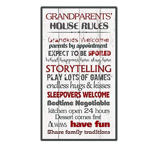 Calien Grandparents House Rules Gifts for Grandma and Grandpa Decorative Wall Art Sign Plaque 13.5 x 8 Inch