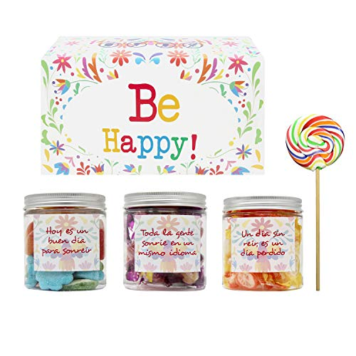SMARTY BOX Caja de Caramelos y Gominolas con Frases para Felicitar Cumpleaños, Navidad, Sin Gluten Chuches Chucherias Golosinas, Modelo A