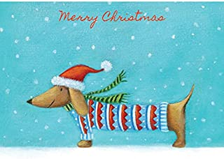 Graphique Christmas Dog Boxed Cards — 15 Embellished Gold Foil and Glitter Wiener Dog