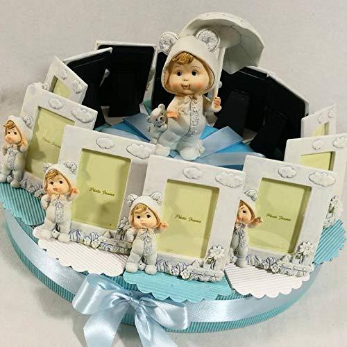 Torta bomboniera con portafoto bambino con tutina che saluta + centrale statuina a tema con bimbo con ombrello (Torta da 12 fette)