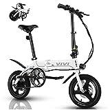 VIVI Bicicleta Electrica Plegable 350W Bicicleta Eléctrica Montaña, Bicicleta Adulto Bicicleta Electrica Plegable con Rueda Integrada de 14', Batería de 7.8Ah, 32 km/h Velocidad MÁX (Blanco)