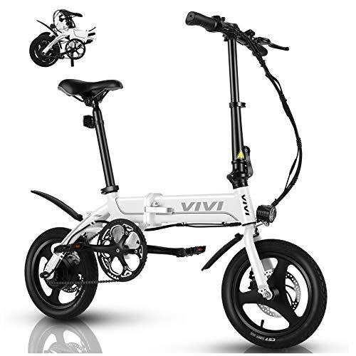 VIVI Bicicletta Elettrica Pieghevole 350W Bici Elettriche, Bici Elettrica per Adulti, Bike Elettrica con Ruota Integrata da 14', Batteria da 7.8 Ah, Velocità di 32 km/h, 3 Modalità di Lavoro (bianca)