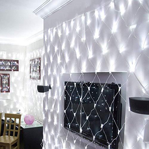 JYZT Weihnachtsbaum Fee Lichternetz 2x1.5M 200 LED, Vorhang Im Freien Lichterketten Mit Wasserdichter Fernbedienung Timing, Festival Dekoration Lampen White