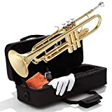 Mendini By Cecilio Bb Trumpet - Brass, Gold Trumpets w/Instrument Case, Cloth, Oil, Gloves - Musical Instruments For Beginner or Experienced Kids, Adults