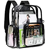 Clear Backpack, F-color PVC Heavy Duty Transparent Clear Bag for Men, Women, Girls, Boys, School, Security, Stadium, Work, Travel, Black