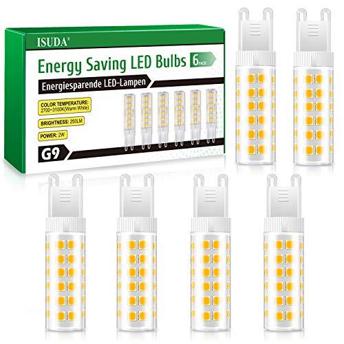 Bombillas LED G9 7W,75 LEDs Maíz Bombillas Equivalente Lampara Halógena 50W-80W,600LM Brillante,3000K Blanco Cálido,No regulable,Sin Estroboscópico,Paquete de 6[Clase de Eficiencia Energética A+]
