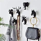 JiaxianGu3Je Tête Animale Tenture Murale Maison Porche Porte clé tête de cerf Cintre Crochet Manteau (Color : A Gold (Horse))