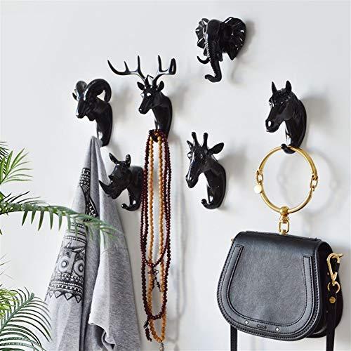 LOOEST Creativo Muro Testa di Animale Appeso Gancio Appendiabiti casa Portico Porta Chiave Testa di Cervo per la casa (Color : A White (Horse))