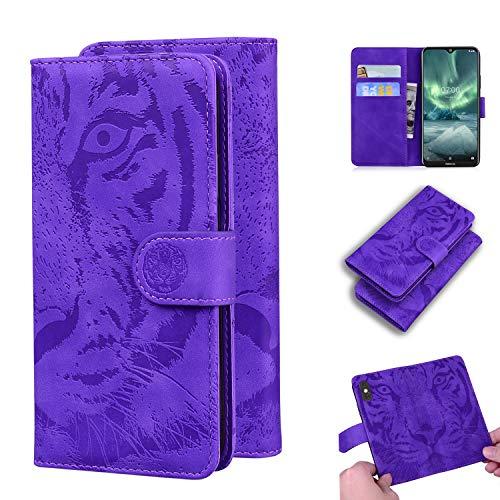 Snow Color Nokia 7.2 / Nokia 6.2 Hülle, Premium Leder Tasche Flip Wallet Case [Standfunktion] [Kartenfächern] PU-Leder Schutzhülle Brieftasche Handyhülle für Nokia7.2 / Nokia6.2 - COTX020616 Violett