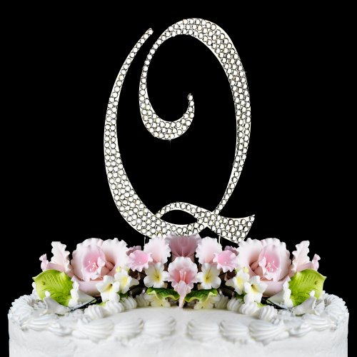 Completely Covered Swarovski Crystal Silver Wedding Cake Toppers ~ LARGE Monogram Letter Q Maine