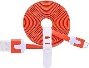 Flat Charging Cable Compatible Ultimate Ears, UE Boom 2 / MEGABOOM/WONDERBOOM/ROLL 2 / MEGABLAST/ROLL/Blast Wireless Bluetooth Speaker Power Supply Cord Line, Micro USB Charger Cable (Orange)
