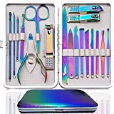 Manicure Set Nail Clippers Set Pedicure 18 Pieces Stainless Steel Manicure Kit Professional Grooming Care Tools Nose Hair Scissors Nail File.The Best Gift with Luxurious Case (Rainbow_18)