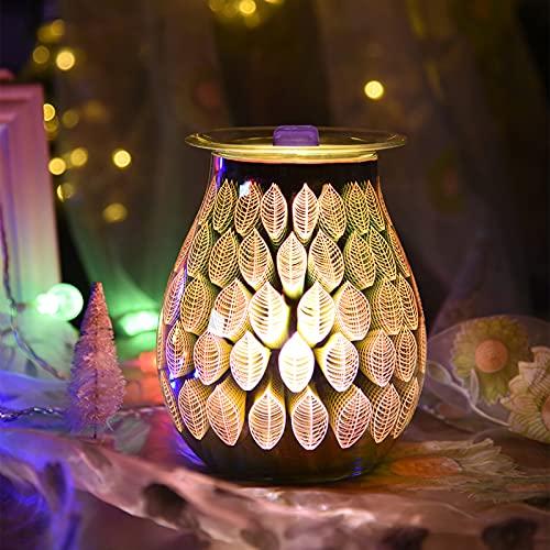 DEECOZY Humificador De Aromas, Difusor De Aceites Esenciales De Vidrio 3D, Lámpara De Aromaterapia En Forma De Hoja con LED para Hogar, Oficina, SPA