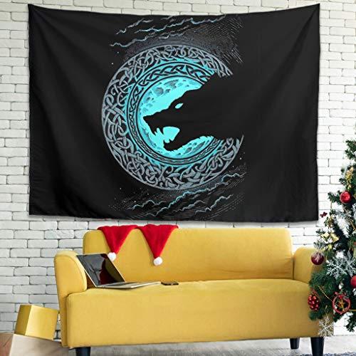 Firelife Wikinger Wolf - Tapiz de pared para colgar, decoración de pared para dormitorio, salón o playa, blanco, 200x150cm