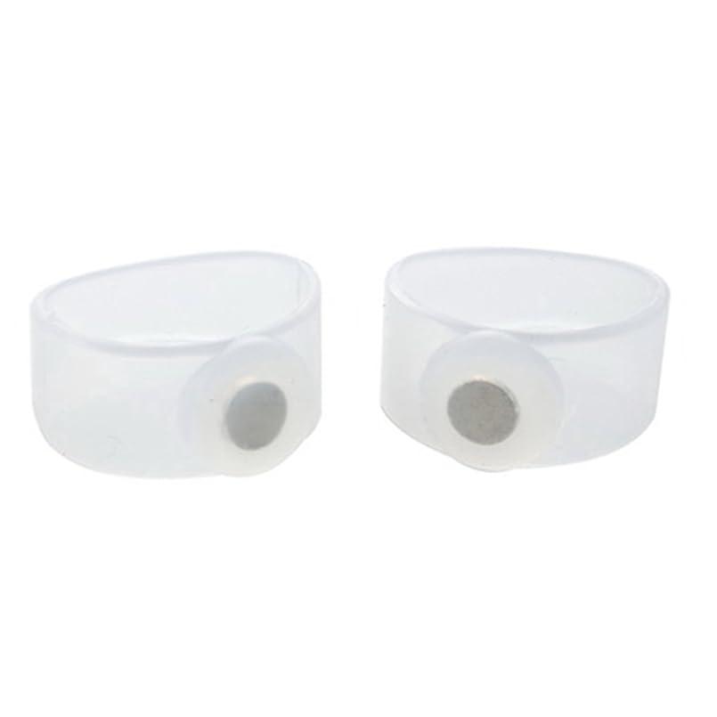 三実り多い思いやりのある2ピース痩身シリコン磁気フットマッサージャーマッサージリラックスつま先リング用減量ヘルスケアツール美容製品 - 透明