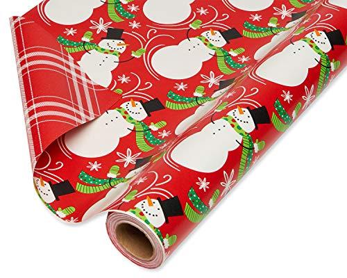 American Greetings Reversible Christmas Wrapping Paper Jumbo Roll, Santa and Snowflakes (1 Pack, 175 sq. ft.)