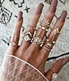Clairy Boho Gold Stacking Rings Crystal Knuckle Rings Rhinestone Finger Rings Jewelry for Women and Girls 12PCS