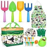 Aoskie Kit Jardineria Niños, 21 Piezas Jardin Herramientas Niño con Pala, Rastrillo, Regadera, Juegos Exterior por Niños 3 4 5 6 7