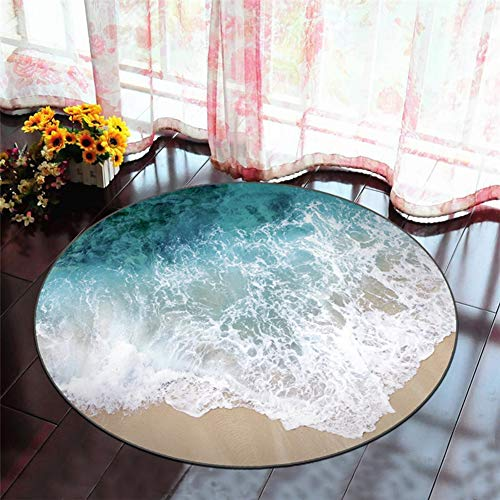 ZDDT Ronde creatieve 3D-print tapijt woonkamer salontafel slaapkamer nacht computer stoel yogamat anti-slip mat, C, 100 cm