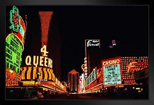 Vintage Neon Signs of Fremont Street Las Vegas Nevada Photo Black Wood Framed Art Poster 20x14