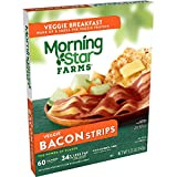 MorningStar Farms Veggie Breakfast Meatless Bacon Strips, Plant Based Protein, Frozen Breakfast, Original, 5.25oz Box (1 Box)