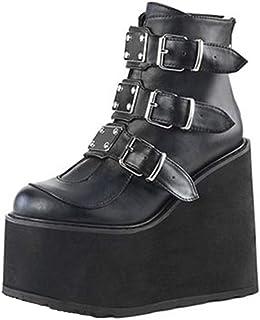Stivaletti con Piattaforma Alta con Cerniera Cinturino Moda Donna Decorazione Scarpe con Zeppe Alte Sneakers da Donna per ...