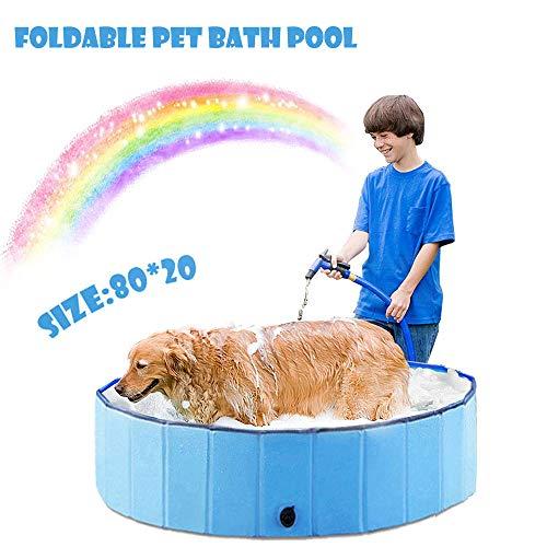 New-wish Hundepool Schwimmbad für Hunde, Faltbarer Hundepool,Hundeplanschbecken Hundebad, Klappbares Haustier-Duschbecken mit Umweltfreundlichem PVC rutschfest