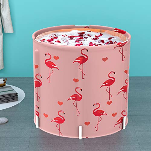 LUCKUP Portable Bathtub, Foldable Free Standing Soaking Bath Tub Easy to Install, Eco-Friendly Bathtub Bathroom Spa,Thickening with Thermal Foam to Keep Temperature,Pink Flamingo