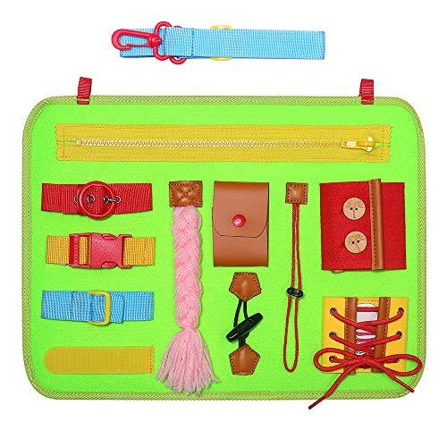Simboom Beschäftigtes Brett für Kleinkinder, Montessori-Aktivitätsbrett Filz Lernbrett Kleidungsfähigkeiten Aktivitätsbrett Grundlegende Fähigkeiten mit Reißverschlüssen, Knöpfen, Zöpfe, Grün