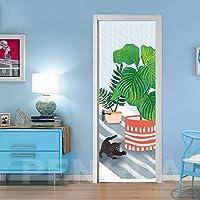 ZWYCEX ドアステッカー ウォールアートは、ドアインテリアステッカー緑の植物自己接着Aniaml犬を3dは防水の壁紙キャンバスプリントピクチャー壁画ホームデザイン (Sticker Size : 95x215cm)