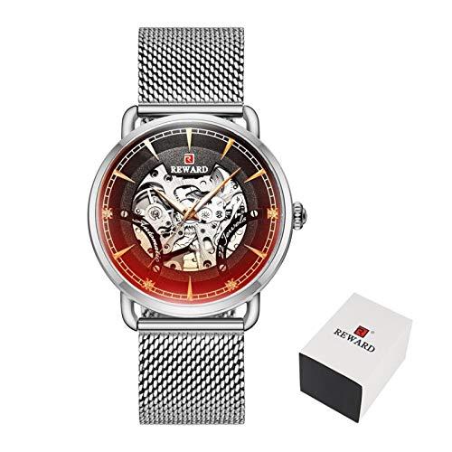 PULLEY -S - Reloj de negocios automático para hombre, reloj luminoso Tourbillon, resistente al agua, reloj mecánico marca S (color: caja plateada)