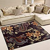 ALAZA Japanese Dragon Flower Vintage Area Rug Rugs for Living Room Bedroom 7' x 5'