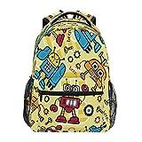 Backpack for Boys Girls, Cartoon Robots Kids Backpacks School Bookbag for Preschool, Kindergarten, Elementary with Adjustable Padded Straps