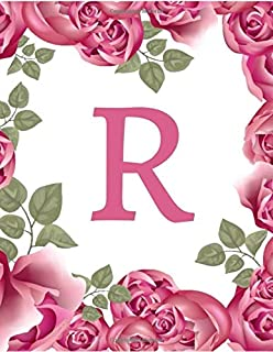 """R: Initial """"R"""" Monogram Notebook Specially Designed for Women and Girls (Pink Floral) (8.5 x 11)"""
