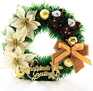 Christmas Party Flowers Christmas Wreath Door Hanging Ornaments Room Christmas Tree Pendants for Decoration(Golden)
