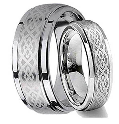 Free Personalized Laser Engraving Ring for Men and Ring for Women His & Her's 8MM/6MM Tungsten Carbide Wedding Band Ring Set w/Laser Etched Celtic Design