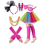 Gywantt 80s Costumes for Women, 80s Accessories Set Adult Tutu Skirt Leg Warmers Fishnet Gloves Earrings Necklace Shutter Glass Lace Hairband for 80s Party Accessory Pink,Large