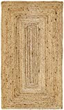 HAMID Jute Teppich - Alhambra Teppich 100% Naturfaser de Jute (80x150cm)