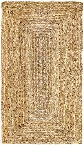 HAMID Alfombra Yute Alhambra Color Natural - Alfombra 100% Fibra de Yute (80x150cm)