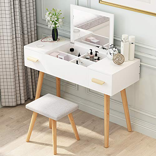 Make-up Schminktisch Set Waschtisch mit Klappspiegel, Make-up-Schminktisch, 4 Organizer-Make-up und 1 kleinen Schubladen für Lippenstifte