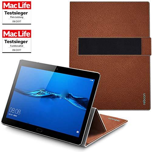 reboon Hülle für Huawei Mediapad M5 Lite Tasche Cover Hülle Bumper | in Braun Leder | Testsieger