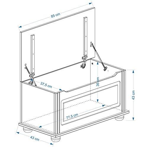 Sitztruhe Truhentisch Holztruhe BRISTOL, 85x43x45cm - 3