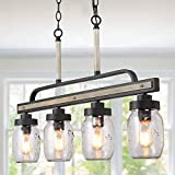 LOG BARN Rustic Mason Jar Lights, Farmhouse Chandelier Metal Finish with Glass Shades, Linear Hanging Pendant for Kitchen Island, Dining Room