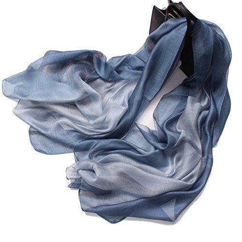 195*70cm Elegant stillvoll Seide Halstuch Stola Schal Farbverlauf Geschenk Freundin Damen (Blau-Grau)