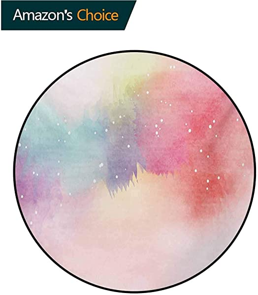 Colorful Modern Machine Washable Round Bath Mat Abstract Dreamy Fantasy Themed Watercolor Digital Painting Artwork Romantic Design Non Slip Living Room Soft Floor Mat Diameter 35 Inch