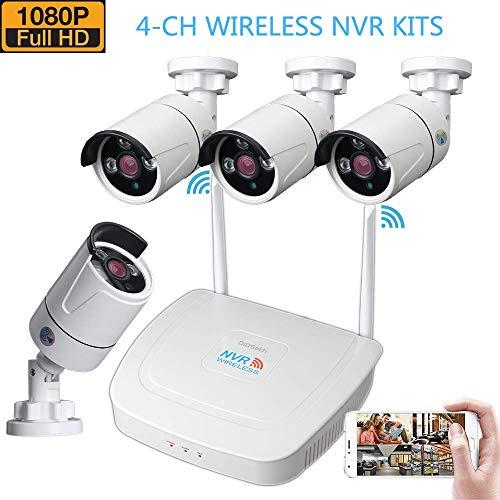 Set di telecamere di sorveglianza, 4 canali 1080P NVR, sistema di videosorveglianza e 4 telecamere di sorveglianza da 1,3 MP, portata di trasmissione WiFi fino a 600 m, accesso remoto tramite App
