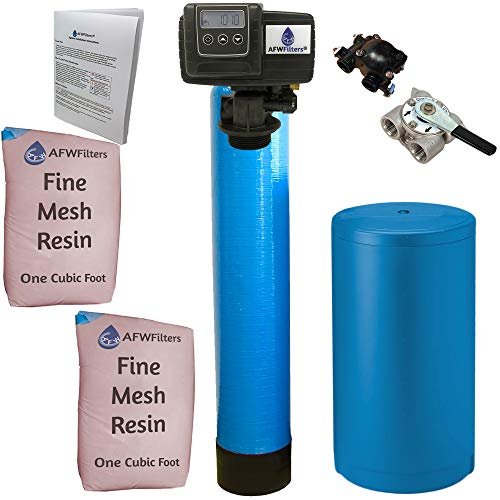 AFWFilters Fleck 5600sxt 2 Cubic Foot (64k) Whole Home Iron Pro Water Softener with Fine Mesh Resin, 3/4' Stainless Steel FNPT Connection, and Blue Tanks